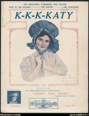 Cover of sheet music for the World War One song K-k-k-Katy
